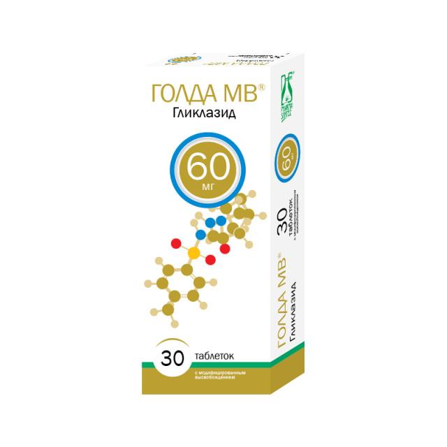 Голда МВ таблетки с модифицированным высвобождением 60мг №30 купить в Москве по цене от 188.5 рублей