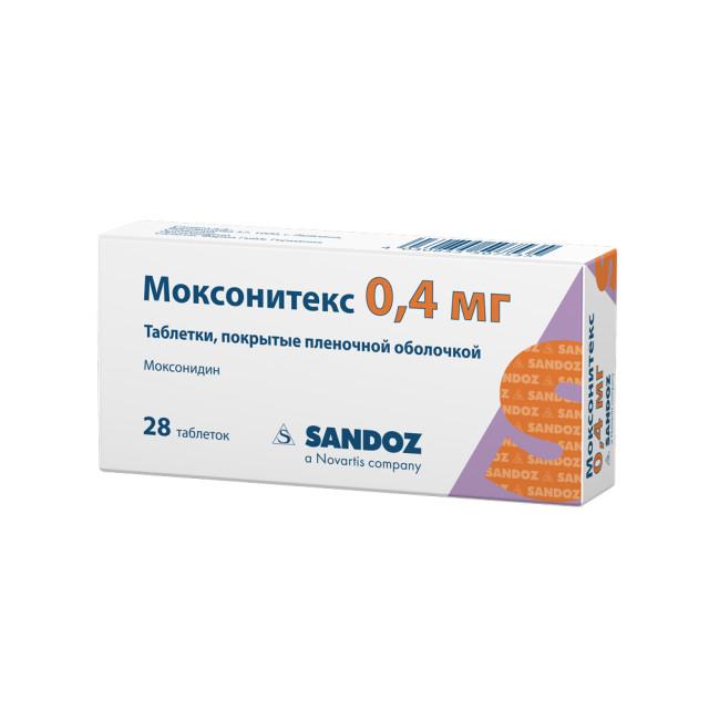 Моксонитекс таблетки п.о 0,4мг №28 купить в Москве по цене от 387 рублей