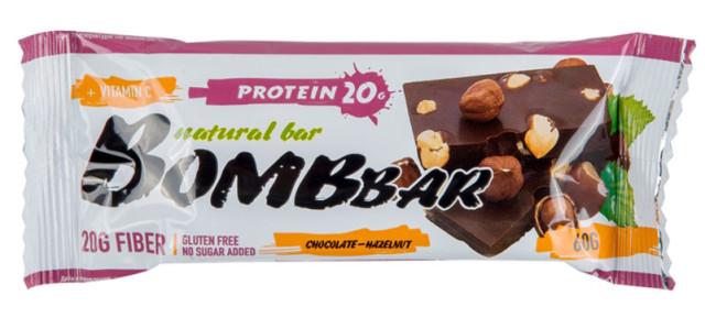 БомбБар батончик Шоколад-фундук 60г купить в Москве по цене от 0 рублей