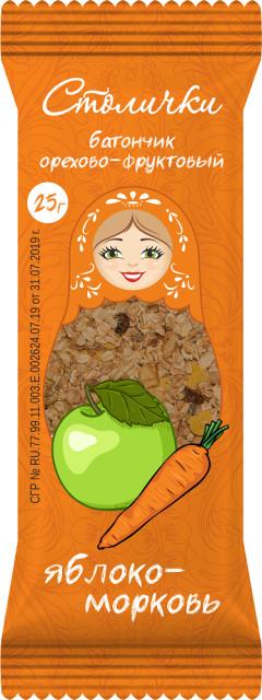 Батончики яблоко/морковь Столички 25г купить в Москве по цене от 35 рублей