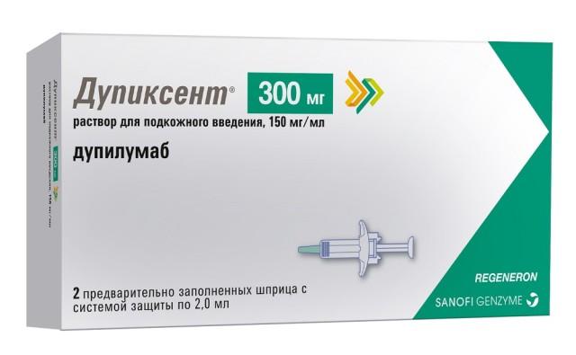 Дупиксент раствор для подкожного введения 150мг/мл 2мл шприц №2 купить в Москве по цене от 71200 рублей