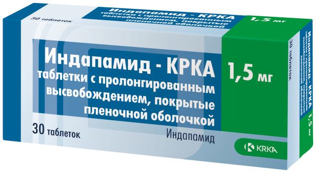 Индапамид таблетки пролонгированные 1,5мг №30 КРКА купить в Москве по цене от 142.5 рублей