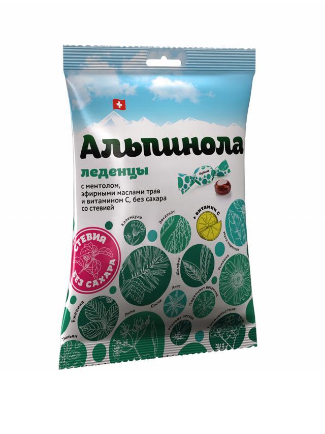 Альпинола леденцы ментол/травы/вит.С без сахара со стевией 75г купить в Москве по цене от 335 рублей