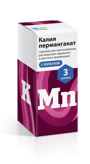 ПКУ Калия перманганат порошок с лопаткой 3г купить в Москве по цене от 55.5 рублей