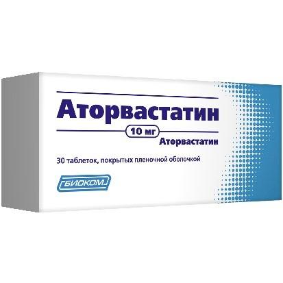 Аторвастатин таблетки п.о 10мг №30 Биоком купить в Москве по цене от 174.5 рублей