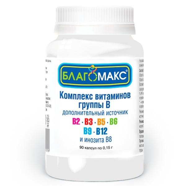 Благомакс Комплекс витаминов группы В капсулы №90 купить в Москве по цене от 381 рублей