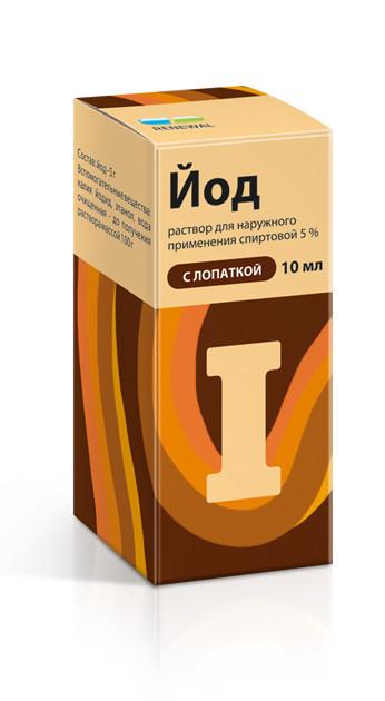 Йод раствор спиртовой 5% 10мл лопатка купить в Москве по цене от 72 рублей