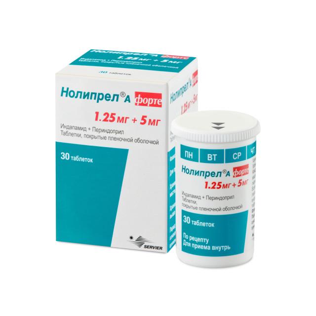 Нолипрел А форте таблетки п.о 5мг+1,25мг №30 купить в Москве по цене от 702 рублей