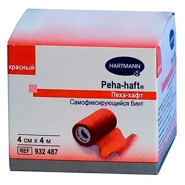 Хартманн Пеха хафт Бинт самофикс. красный 4мх4см (932487) купить в Москве по цене от 154 рублей