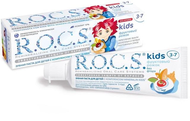 Рокс зубная паста Кидс Фрукт.рожок для детей 3-7лет 45г купить в Москве по цене от 197 рублей