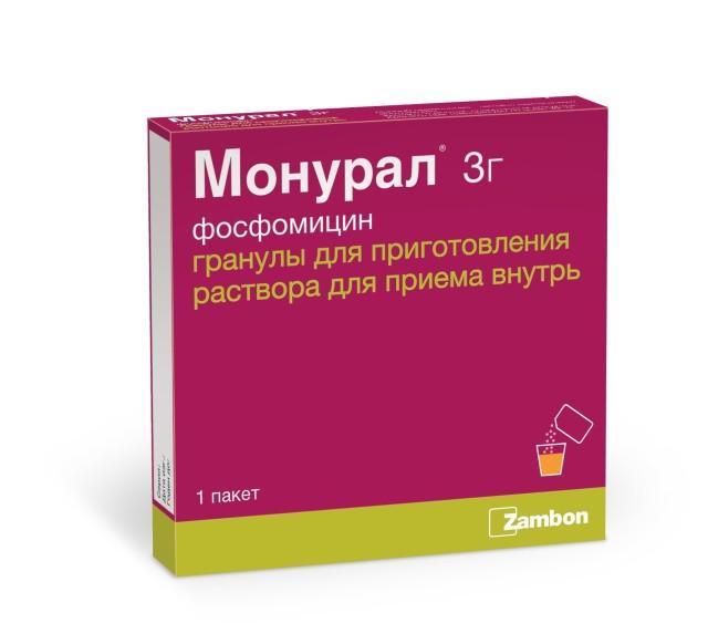 Монурал гранулы для приготовления раствора 3г №1 купить в Москве по цене от 546 рублей