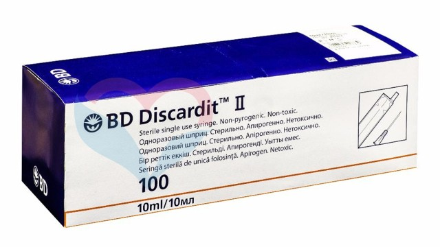 Шприц 2-х комп. BD Discardit 10мл №100 купить в Москве по цене от 1280 рублей
