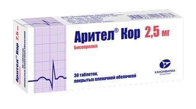 Арител Кор таблетки п.о 2,5мг №30 купить в Москве по цене от 0 рублей