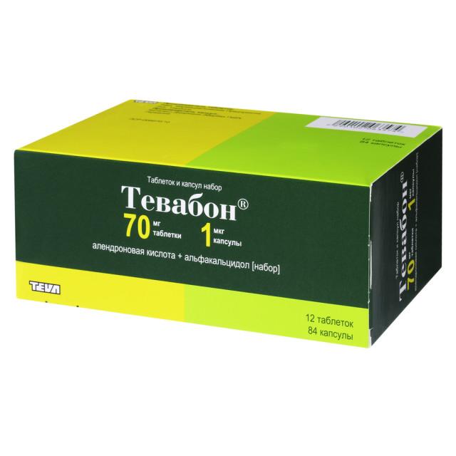 Тевабон таблетки 70мг №12 + капсулы 1мкг №84 купить в Москве по цене от 2350 рублей