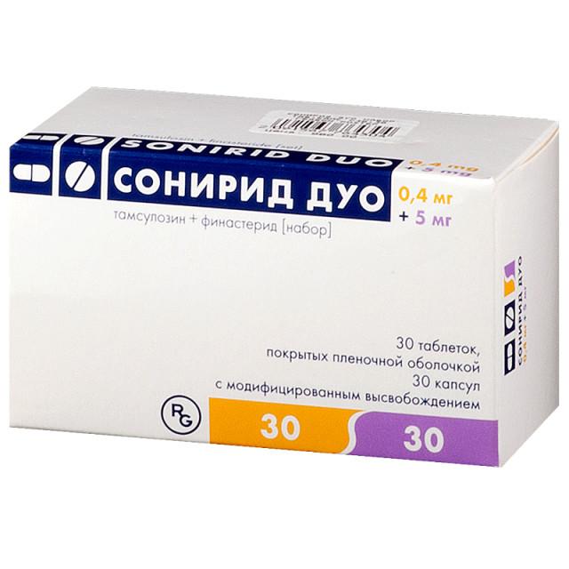 Сонирид Дуо капсулы 0,4мг №30 + таблетки п.о 5мг №30 купить в Москве по цене от 1020 рублей