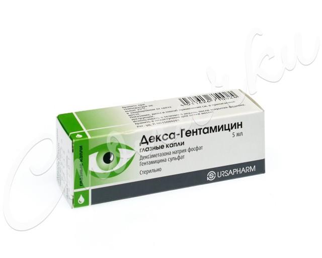 Декса-Гентамицин капли глазные 5мл купить в Москве по цене от 134 рублей