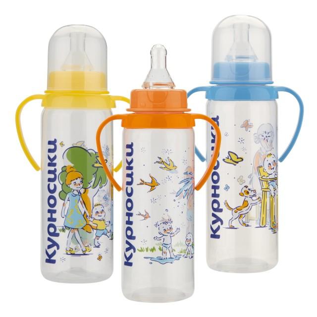 Курносики бутылочка с ручками 250мл+соска силикон 11139 купить в Москве по цене от 145 рублей