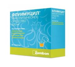 Флуимуцил гранулы для приготовления раствора Апельсин 200мг №20