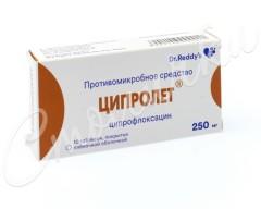Ципролет таблетки п.о 250мг №10