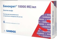Бинокрит раствор для инъекций 84мкг/мл 10000 МЕ 1мл №6