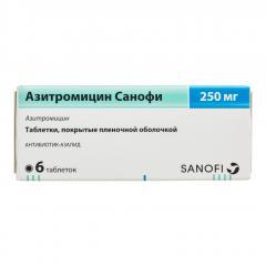 Азитромицин Зентива/Санофи таблетки п.о 250мг №6