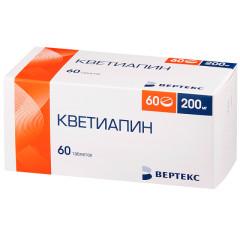 Кветиапин таблетки п.о 200мг №60