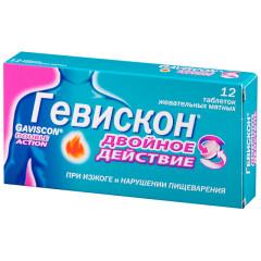 Гевискон Двойное действие таблетки жевательные Мята №12