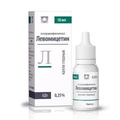 Левомицетин ФСТ капли глазные 0,25% 10мл